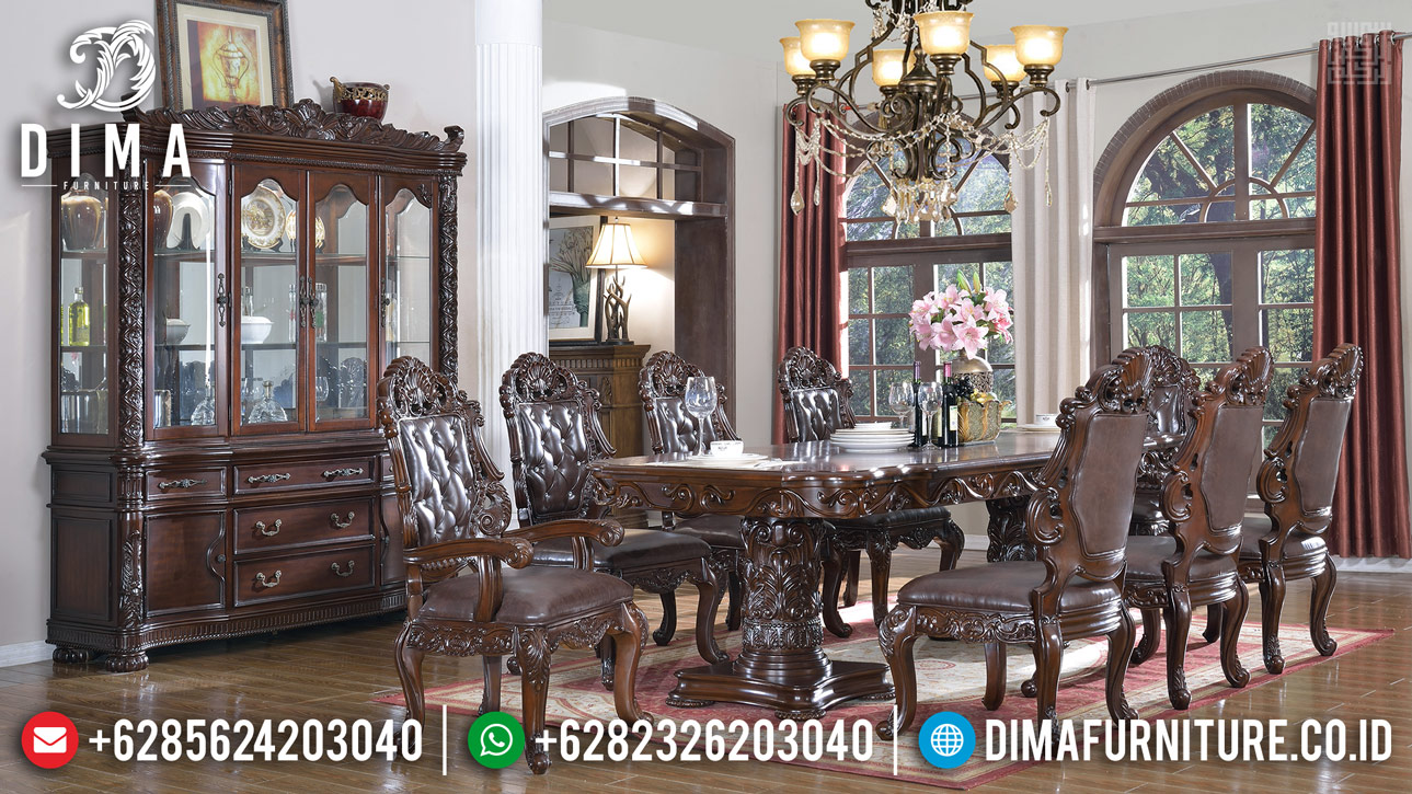 Set Meja Makan Kayu Jati Natural Perhutani Classic Style Luxury Carving Jepara ST-1108