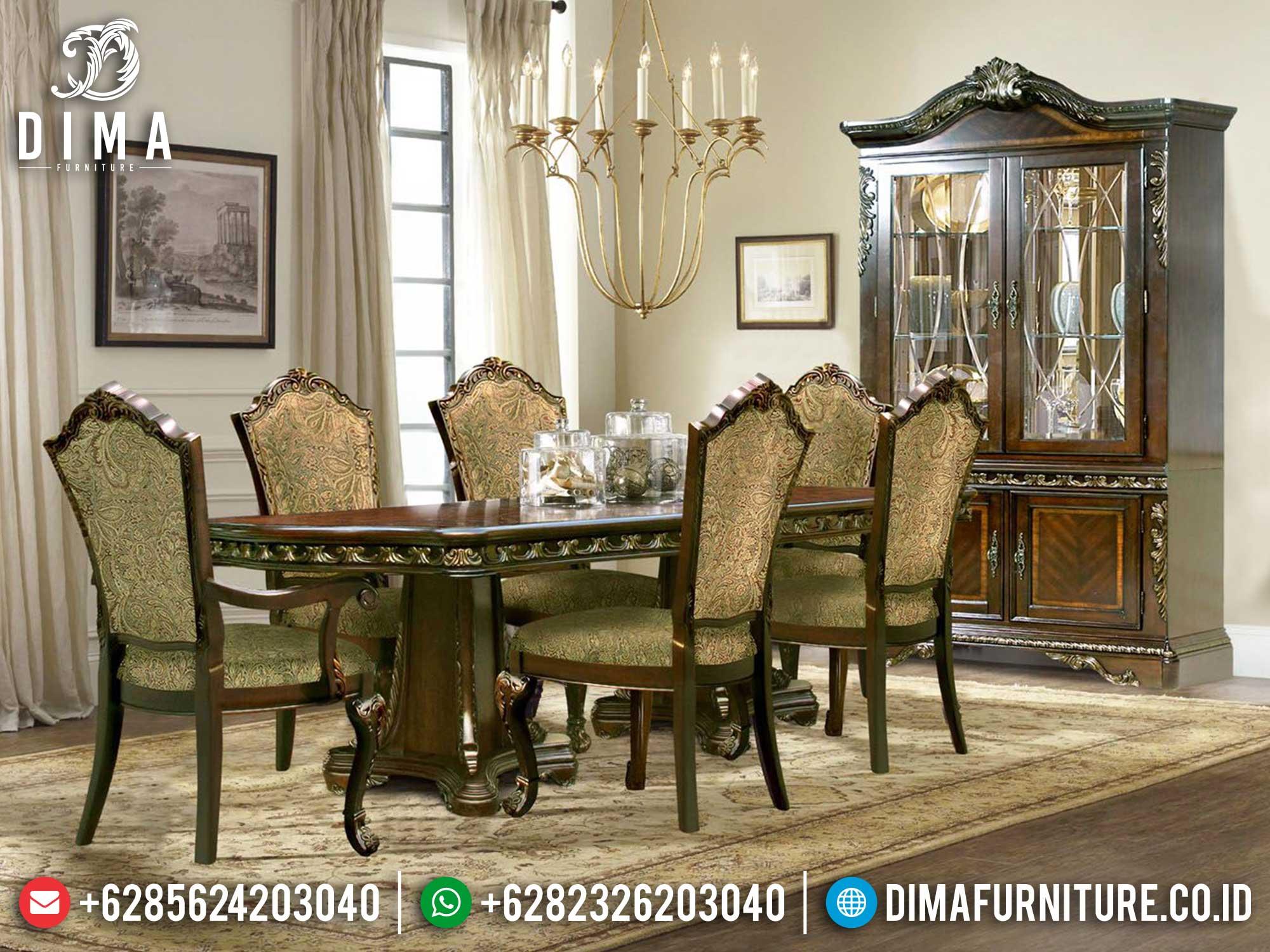 Agseisa Set Meja Makan Mewah Klasik Luxury Jati Natural Jepara St-1221