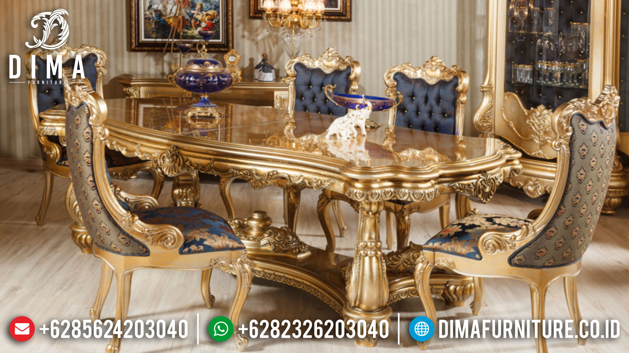 Classic Set Meja Makan Mewah Luxury Golden Stone Color High Quality Product St-1250