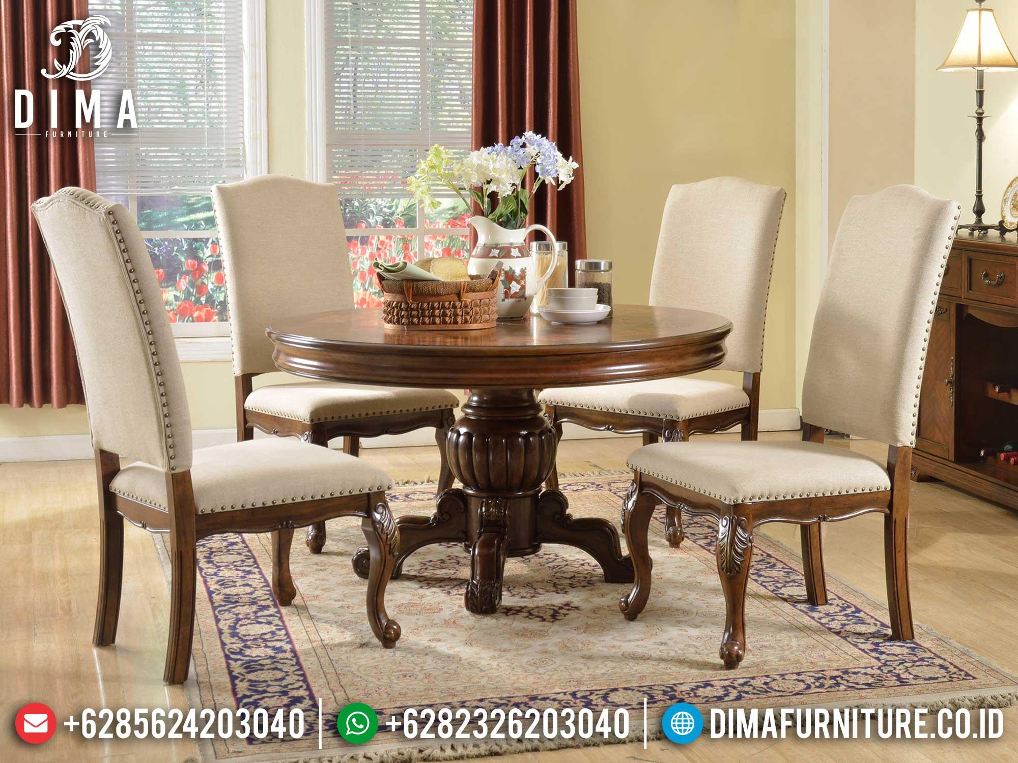 Desain Meja Makan Minimalis Bundar Natural Jati Classic Furniture Jepara Terbaru ST-1207