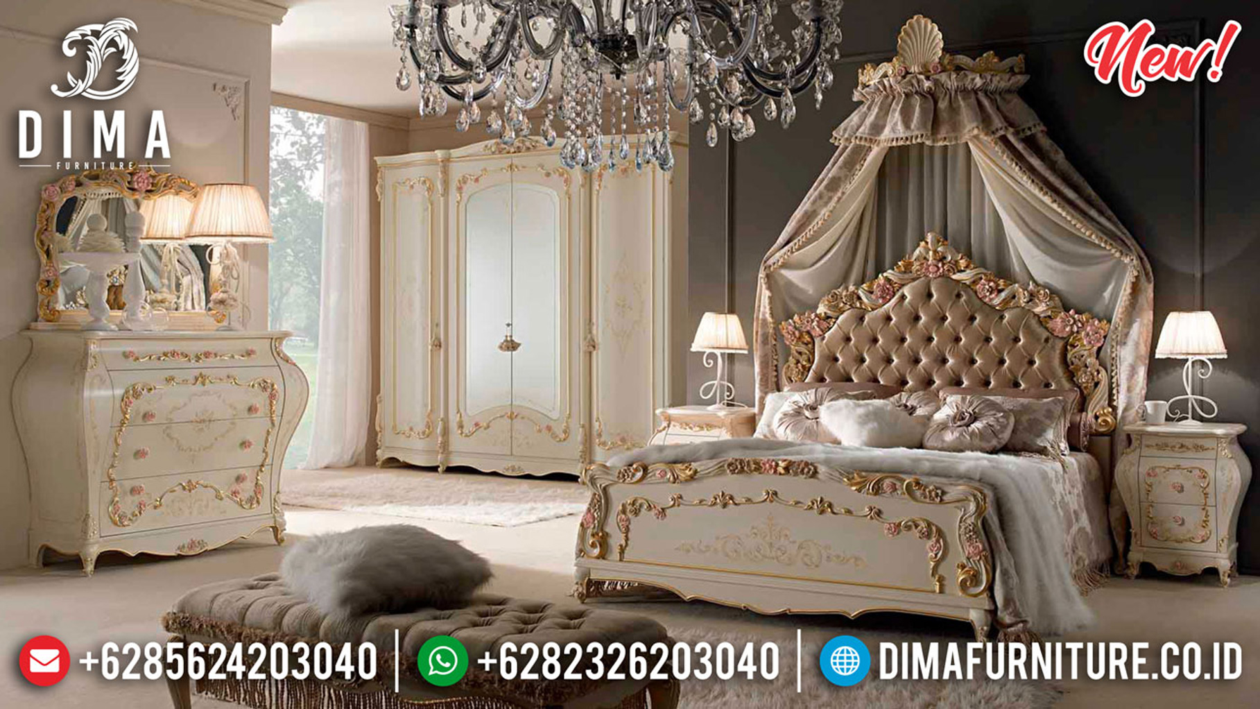 Harga Kamar Set Mewah Jepara Terbaru Luxury Classic Best Collection ST-1177