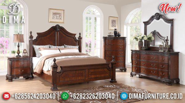 Harga Tempat Tidur Minimalis Jati Classic Luxury Natural Jepara Terbaru ST-1186