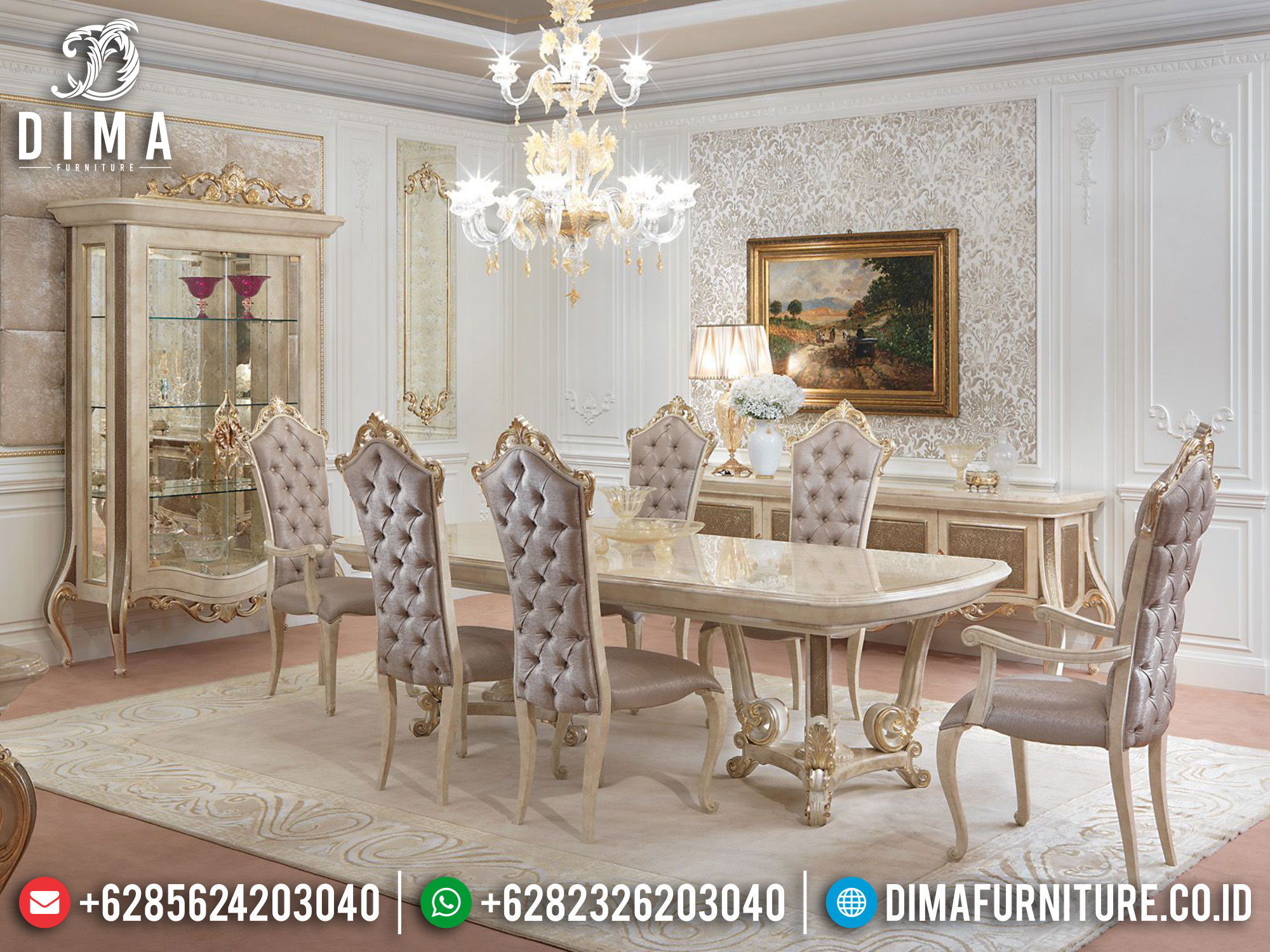 Meja Makan Jepara Luxury Carving Hilarious Style Classic Style ST-1241