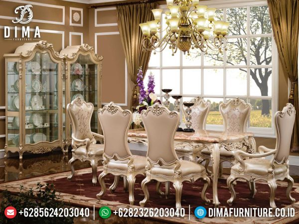 Meja Makan Mewah Elegant, Set Meja Makan Ukiran Luxury Classic Jepara ST-1259