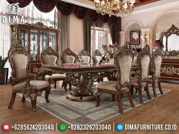 Meja Makan Mewah Jati Natural Classic Jepara Imperial Luxury Design ST-1222