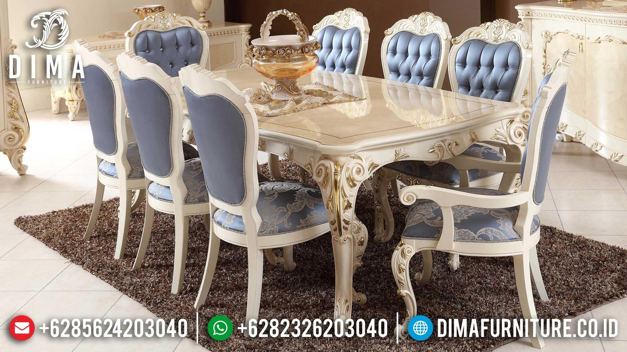 Meja Makan Mewah Jepara Art White Duco Classic Luxurious Furniture Jepara ST-1256