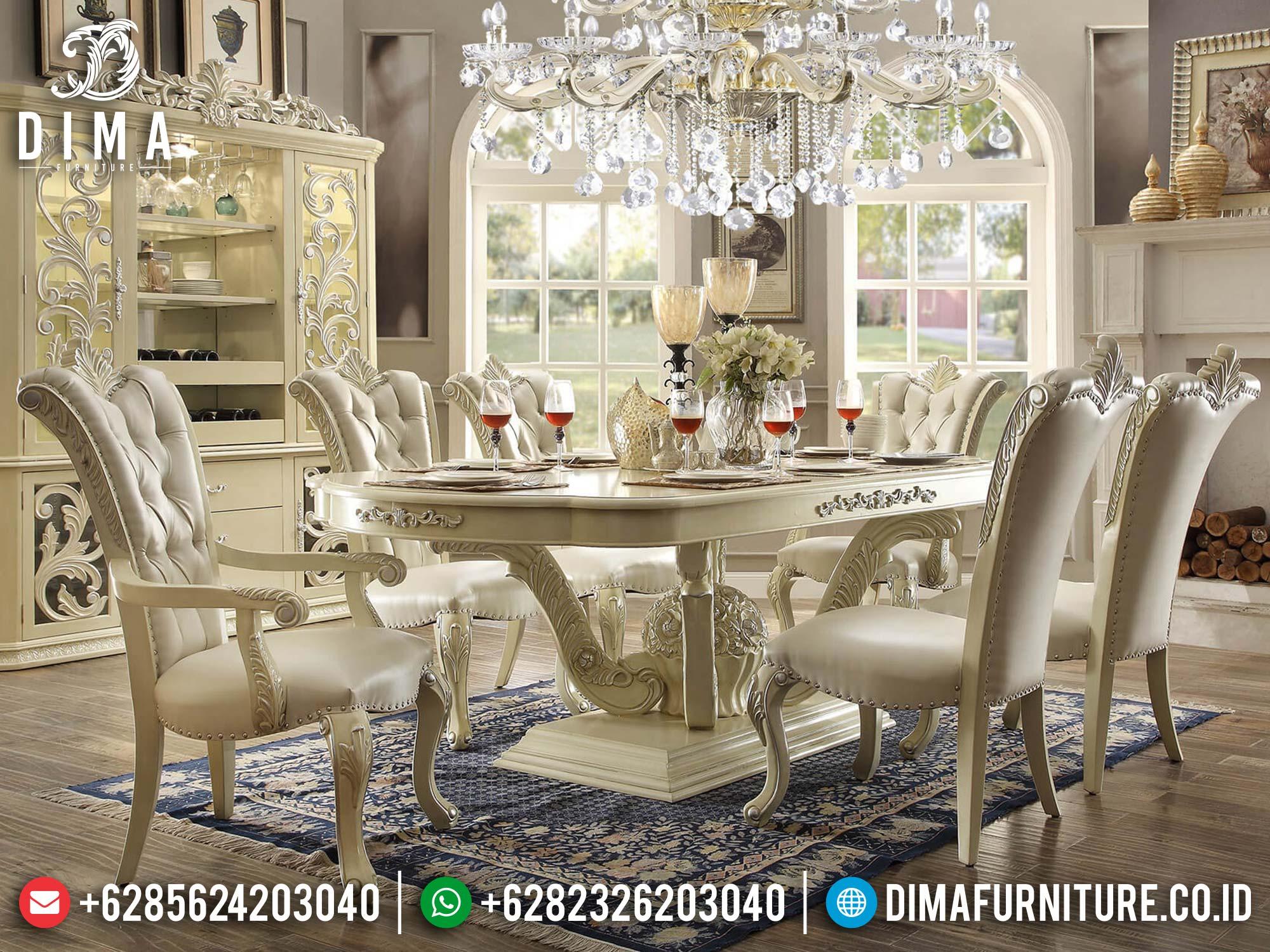 Meja Makan Mewah Jepara Duco Color Luxury Carving Furniture St-1243