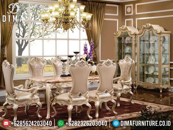 Meja Makan Mewah Jepara, Kursi Makan Ukiran Luxury, Set Meja Makan Jepara High Quality ST-1260