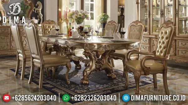 Meja Makan Mewah Kursi 6 Luxury Soft Golden Duco Color Mebel Jepara ST-1253