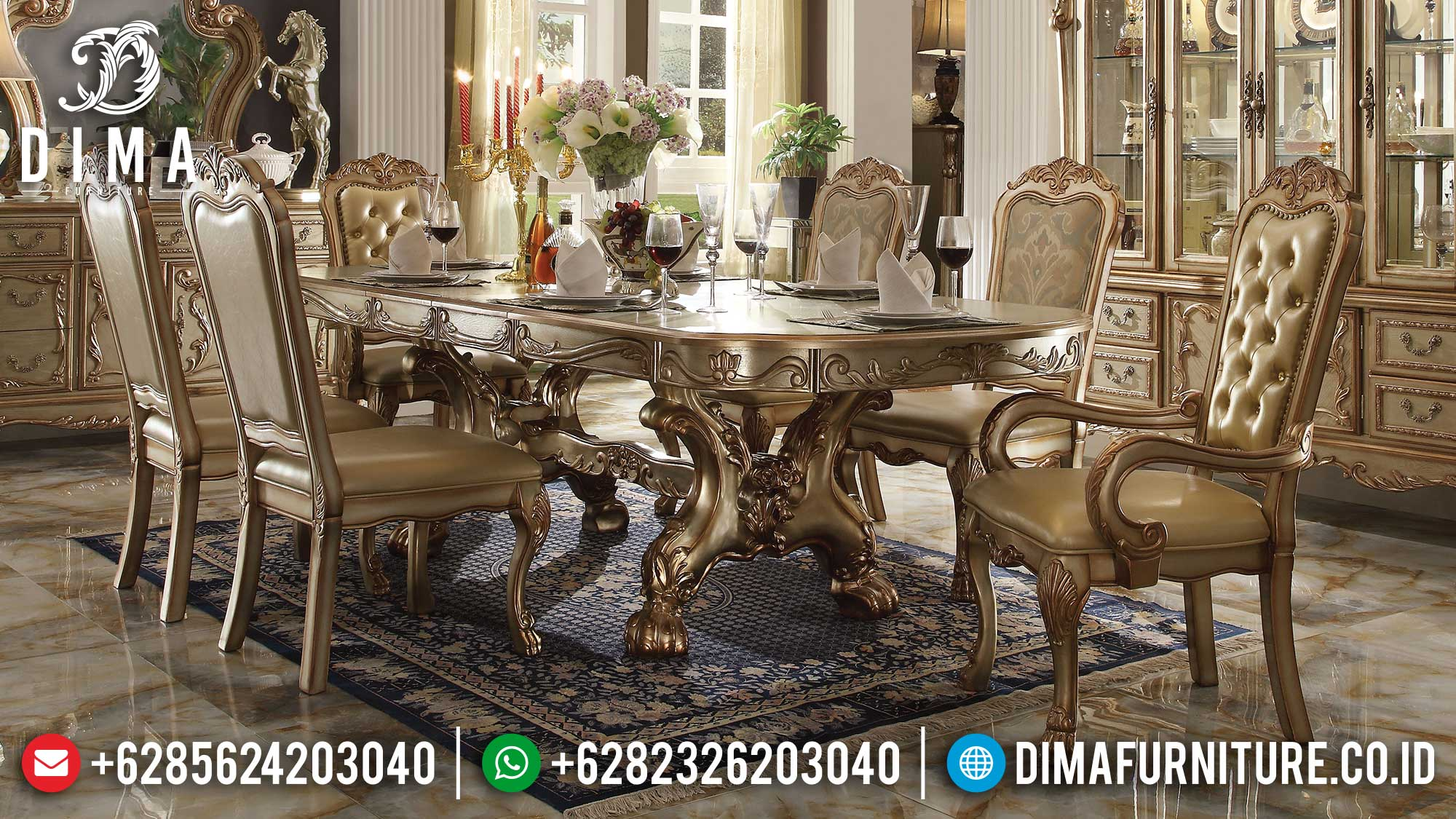 Meja Makan Mewah Mewah Kursi 6 Luxury Soft Golden Duco Color Mebel Jepara St-1253