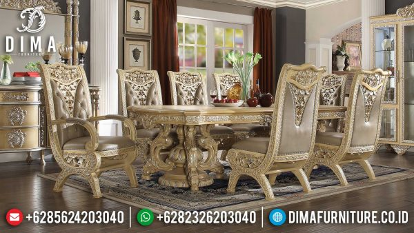 Meja Makan Mewah Ukiran Luxury Carving Jepara Glamorous Style ST-1251