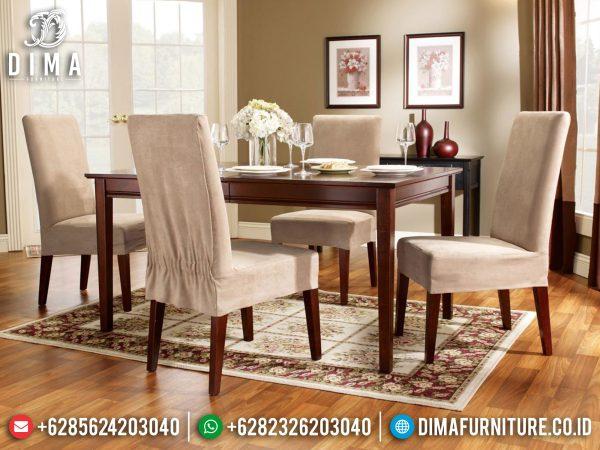 Meja Makan Minimalis Callista Kayu Jati Perhutani Natural Color Classic Luxury ST-1231