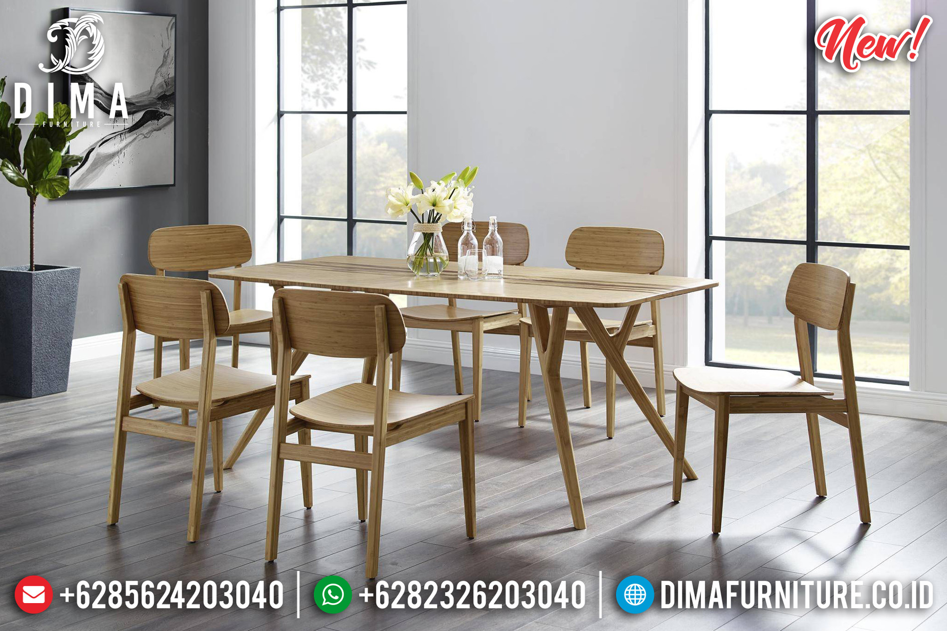 Meja Makan Minimalis Jati Back To Nature Concept Natural Color St-1226