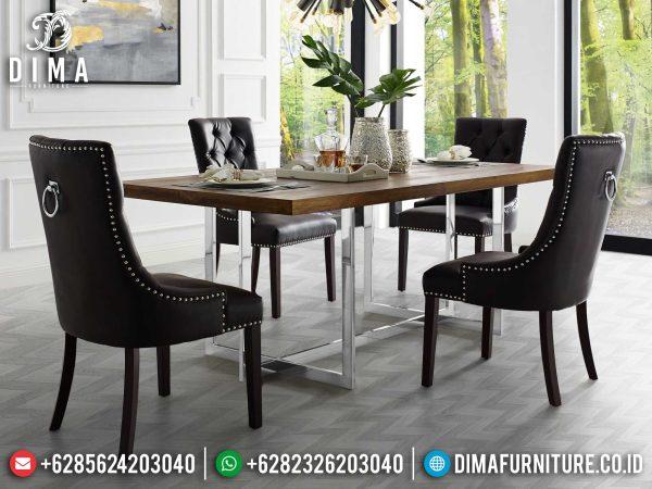 Meja Makan Minimalis Modern Jepara Stainless Steel New Luxury Design ST-1195