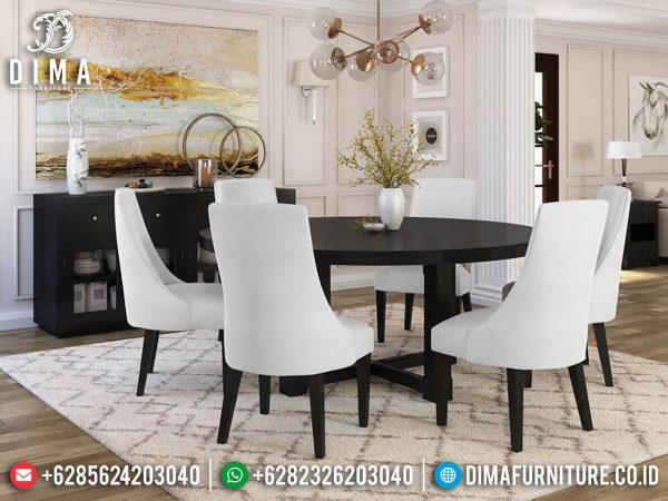 Model Meja Makan Minimalis Bundar Natural Jati Classic Luxury Jepara ST-1214