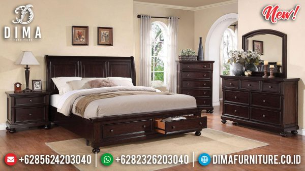 Model Tempat Tidur Laci Minimalis Classic Natural Dark Brown New Item ST-1185