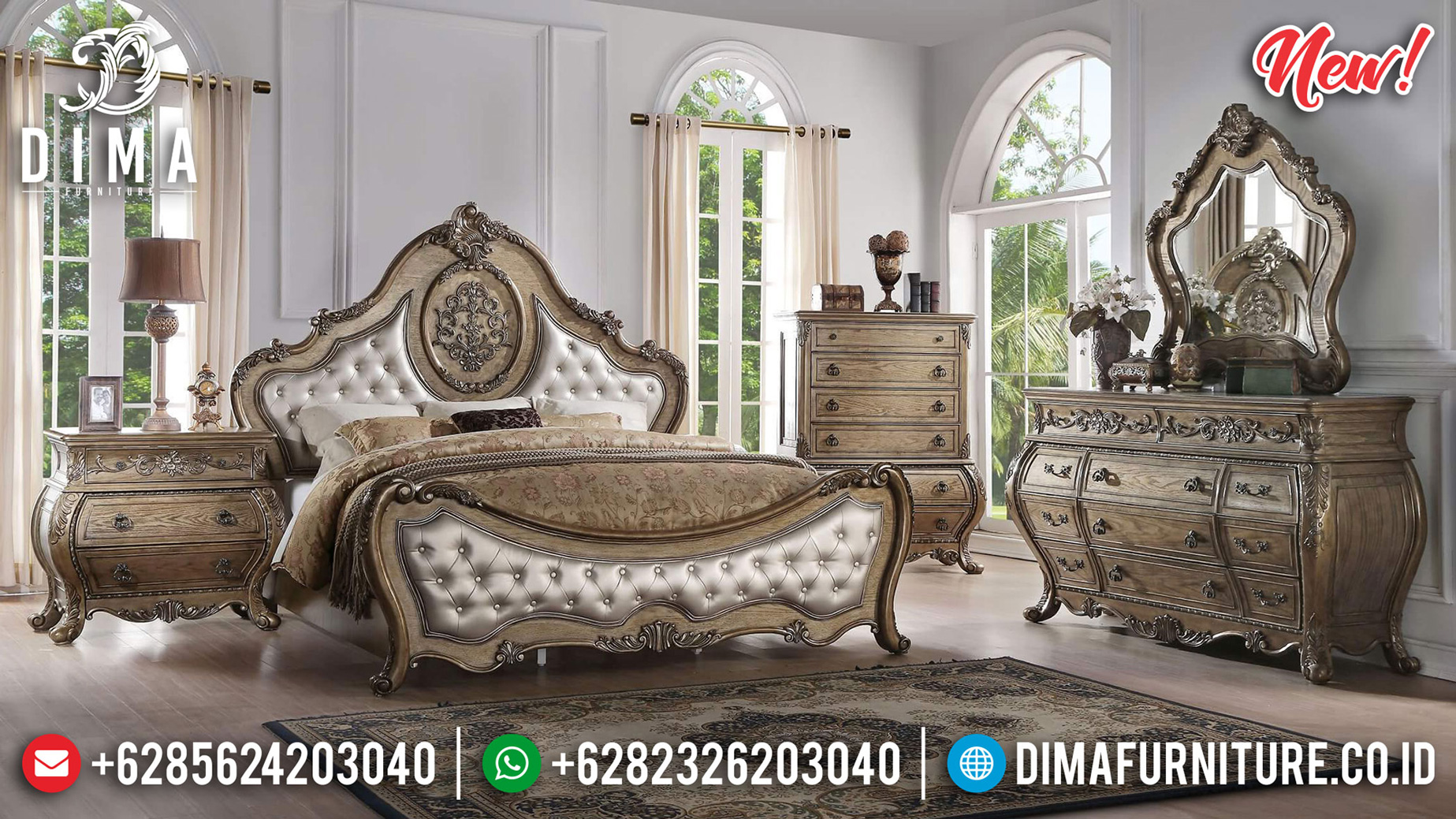 New Tempat Tidur Mewah Luxury Classic Jepara Furniture Elegant Style ST-1176