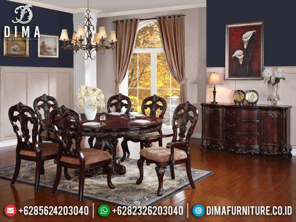 Set Meja Makan Jati Natural Classic Luxury Ukiran Jepara Terbaru ST-1192