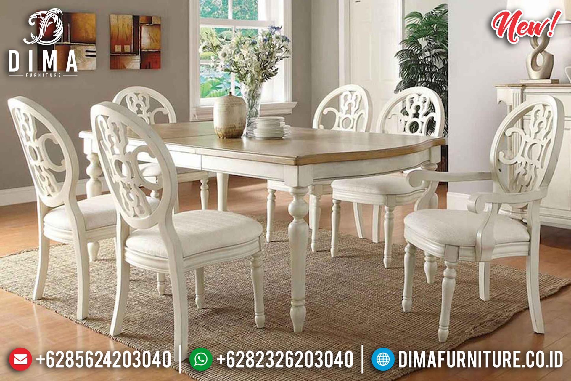 Set Meja Makan Modern Minimalis Putih Jepara Simple Design St-1229