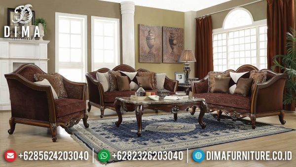 Best Sale Sofa Tamu Mewah Jati Natural Kayu Perhutani Jepara ST-1375
