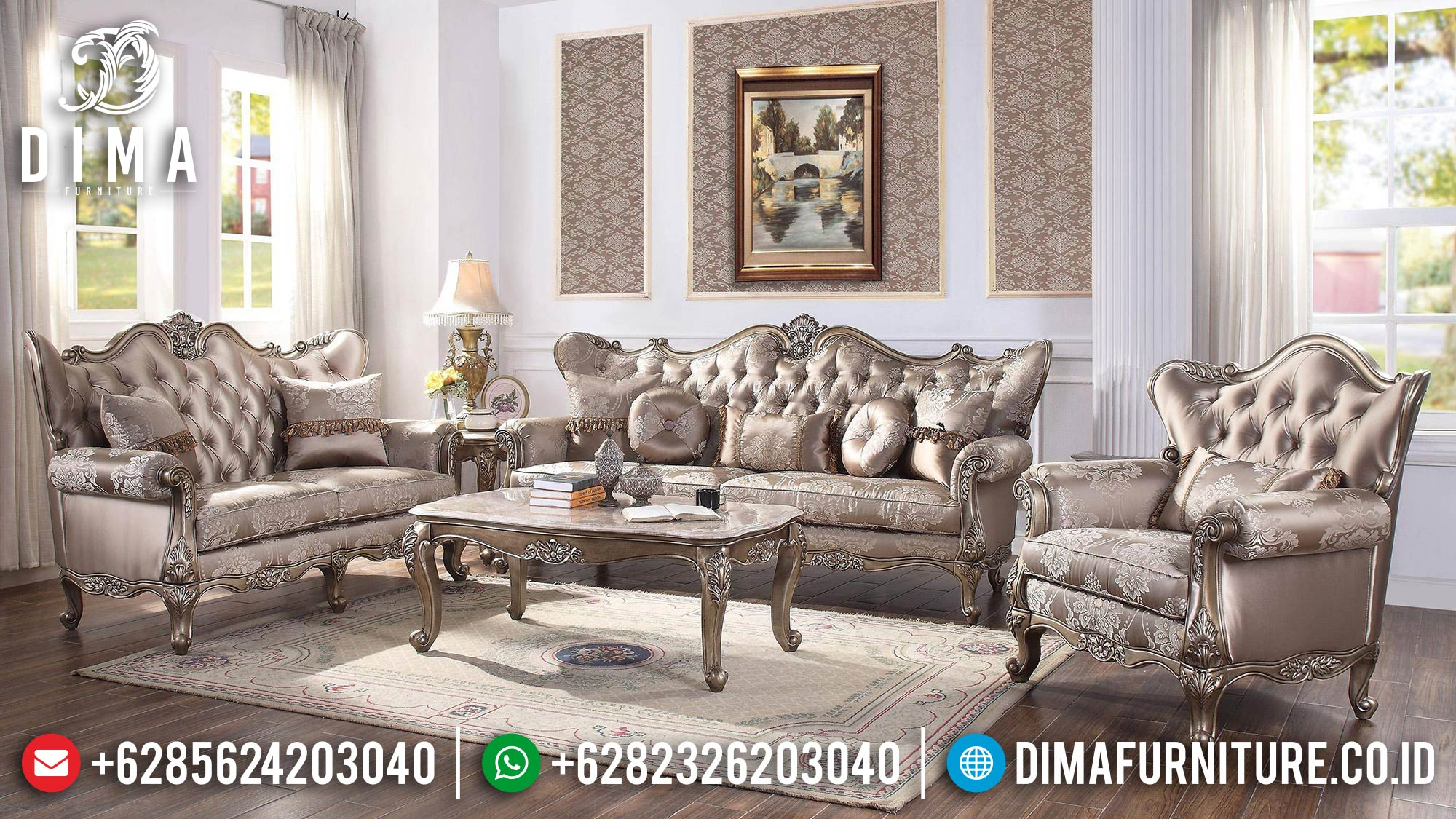 Best Seller Sofa Tamu Mewah Ukir Jepara Luxury Silver Champagne Color ST-1283