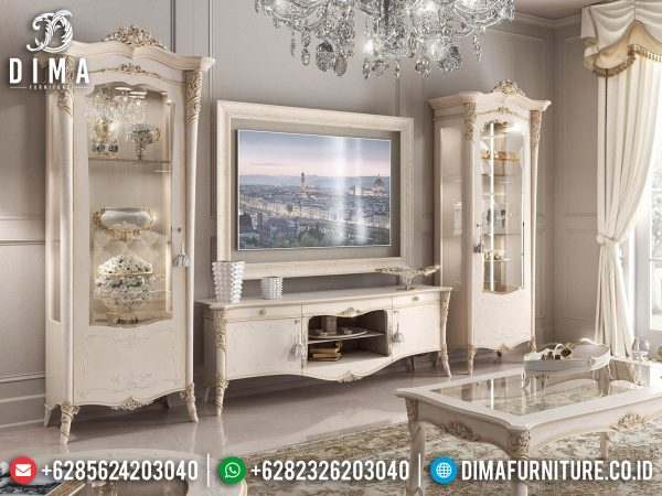 Desain Bufet TV Mewah Jepara Luxury White Duco Art Color Glossy ST-1401