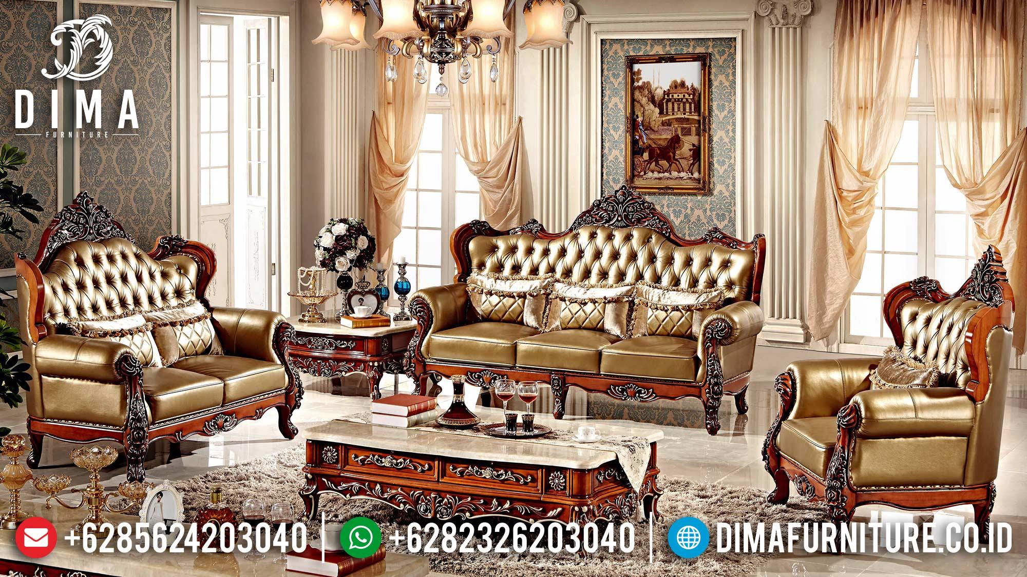 Desain Sofa Tamu Mewah Jepara Luxurious Sets Natural Jati Perhutani ST-1347