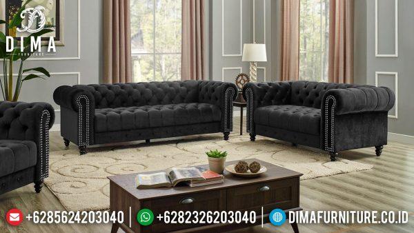 Great Sofa Tamu Minimalis Jepara Black Beludru Fabric Best Royal Foam LG 26 ST-1309
