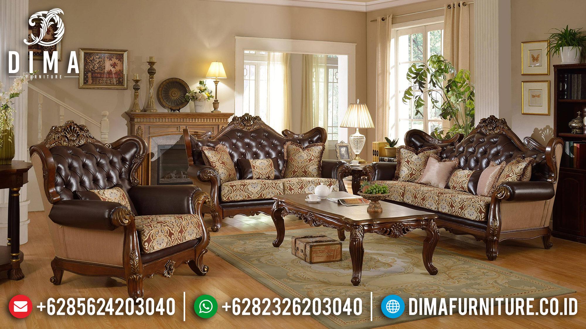 Harga Sofa Tamu Mewah Jati Glorious Design Luxury Carving Natural Color ST-1349