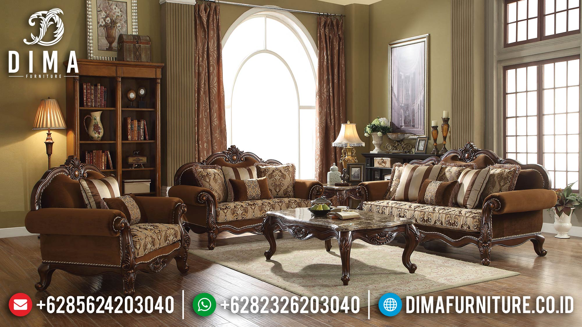 Harga Sofa Tamu Mewah Kayu Jati Luxury Carving Classic Natural Color ST-1312