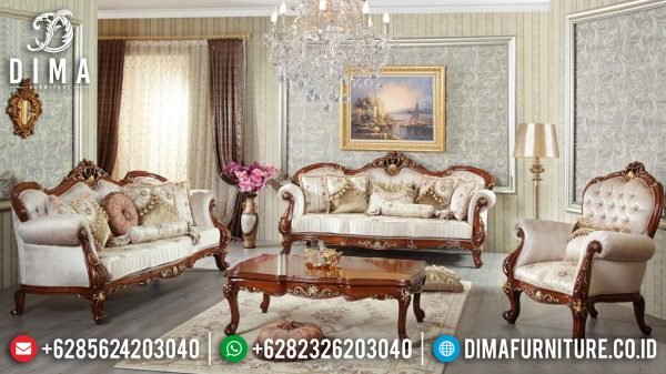 Jual Sofa Tamu Mewah Jati Luxury Carving Natural Salak Brown Color Combination ST-1297