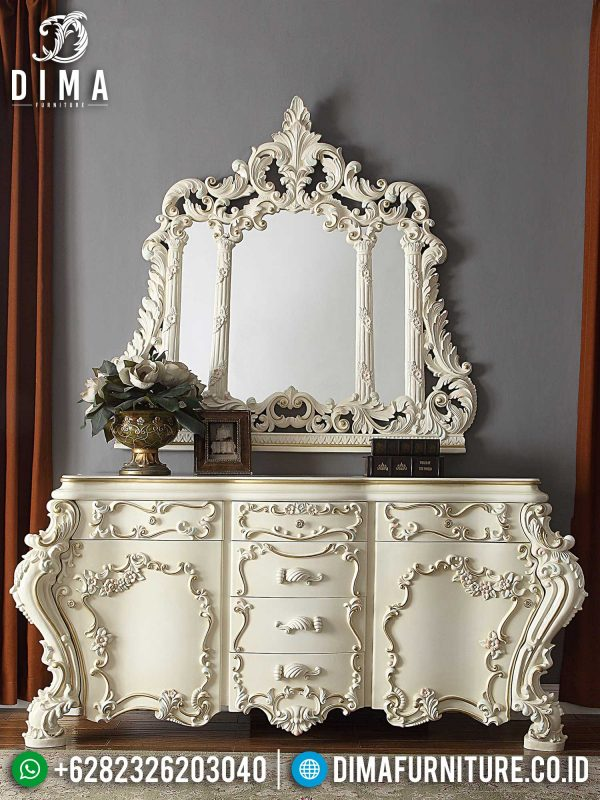Meja Konsul Mewah Putih Glossy Art Duco Luxury Carving Furniture Jepara ST-1337