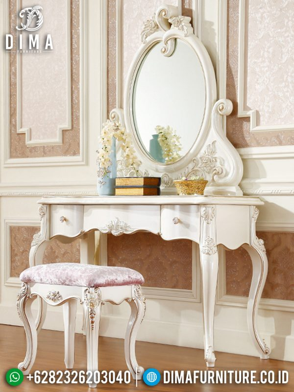 Meja Rias Mewah Putih Duco Elegant New Design Furniture Jepara ST-1398