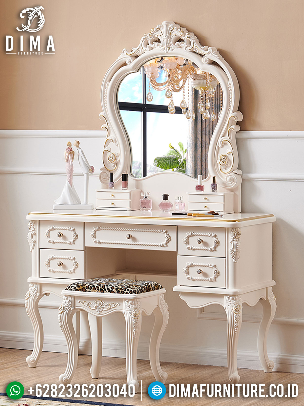 Meja Rias Mewah Ukiran Jepara Luxury Elegant White Duco ST-1391