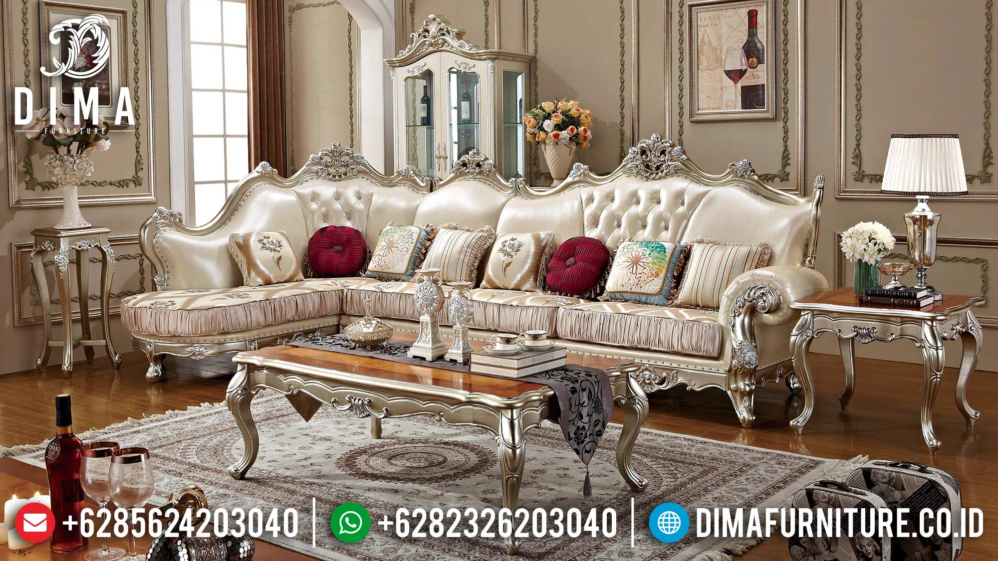 New Set Sofa Tamu Mewah Luxury Excellent Champagne Color Glossy ST-1388
