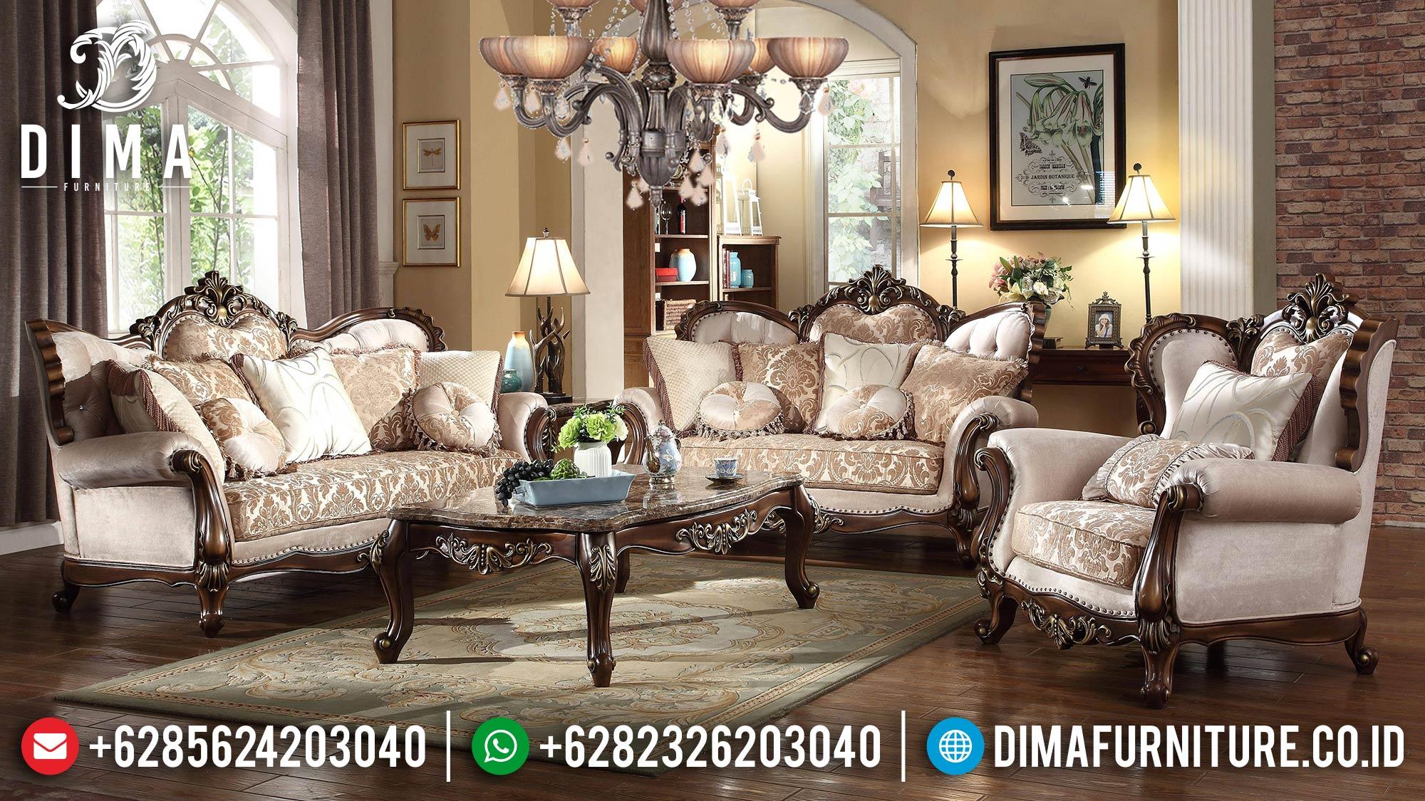 New Sofa Tamu Mewah Jati Klasik Luxury Natural Salak Brown Mebel Jepara ST-1313