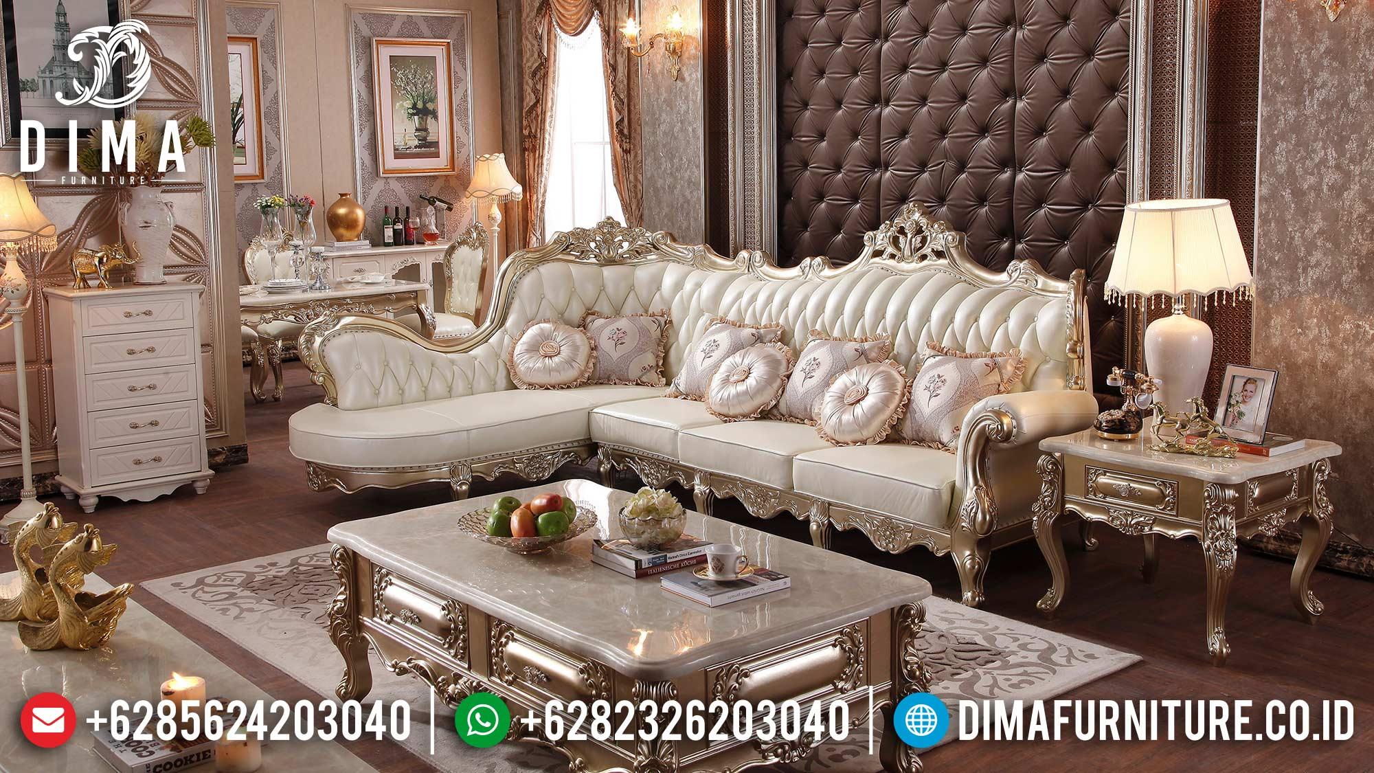 New Style Sofa Tamu Ukiran Sudut Luxury Classic Golden Champagne Color Glossy ST-1350