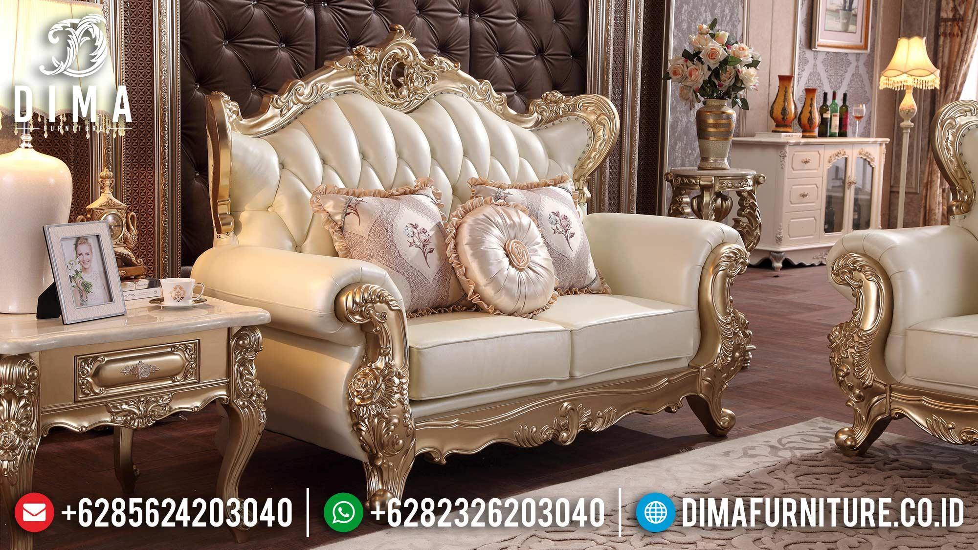 Set sofa tamu 2 dudukan elegant new style carving ST-1373