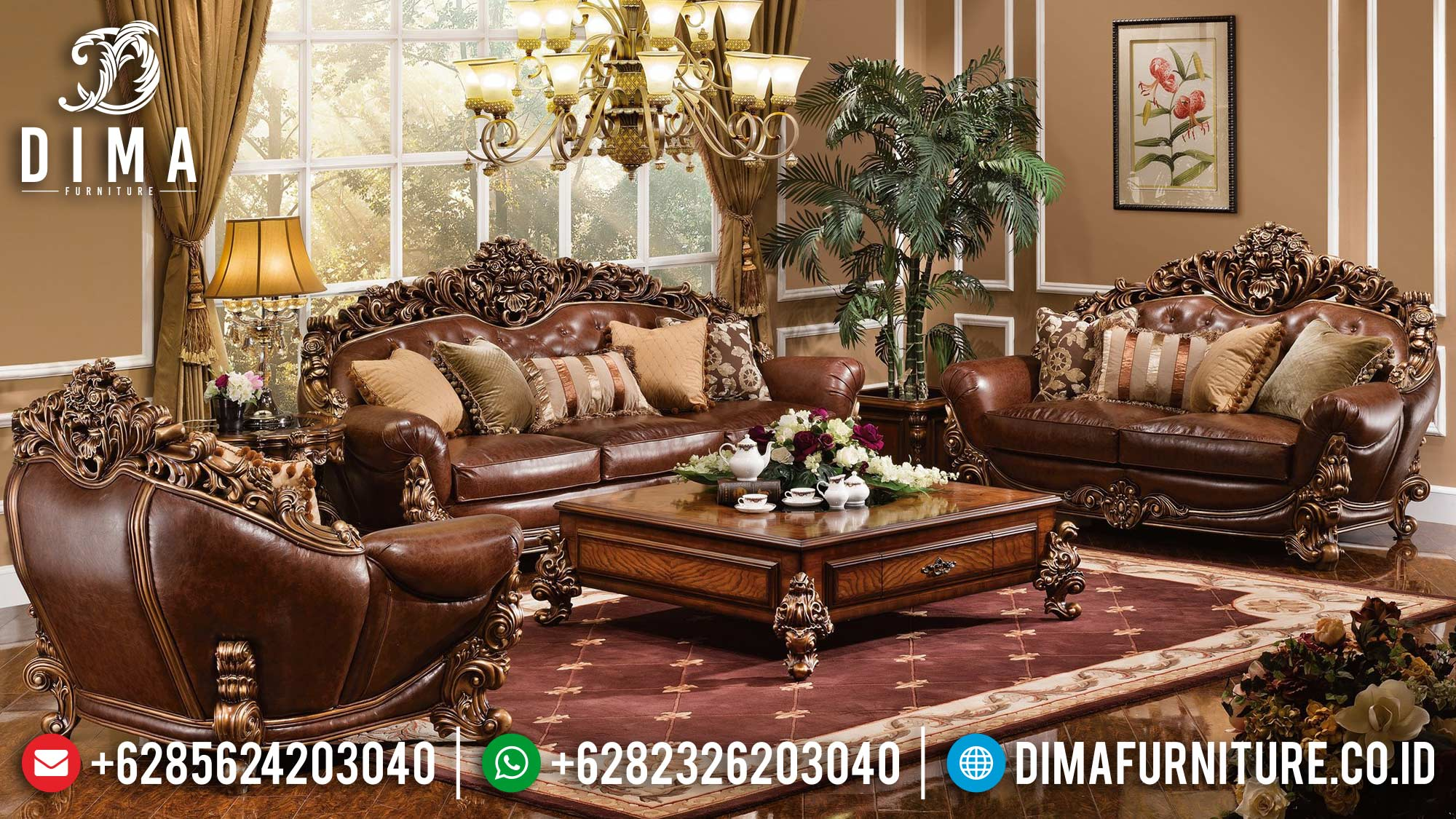 Sofa Tamu Jepara Kayu Jati Luxury Natural Classic Furniture Jepara ST-1314