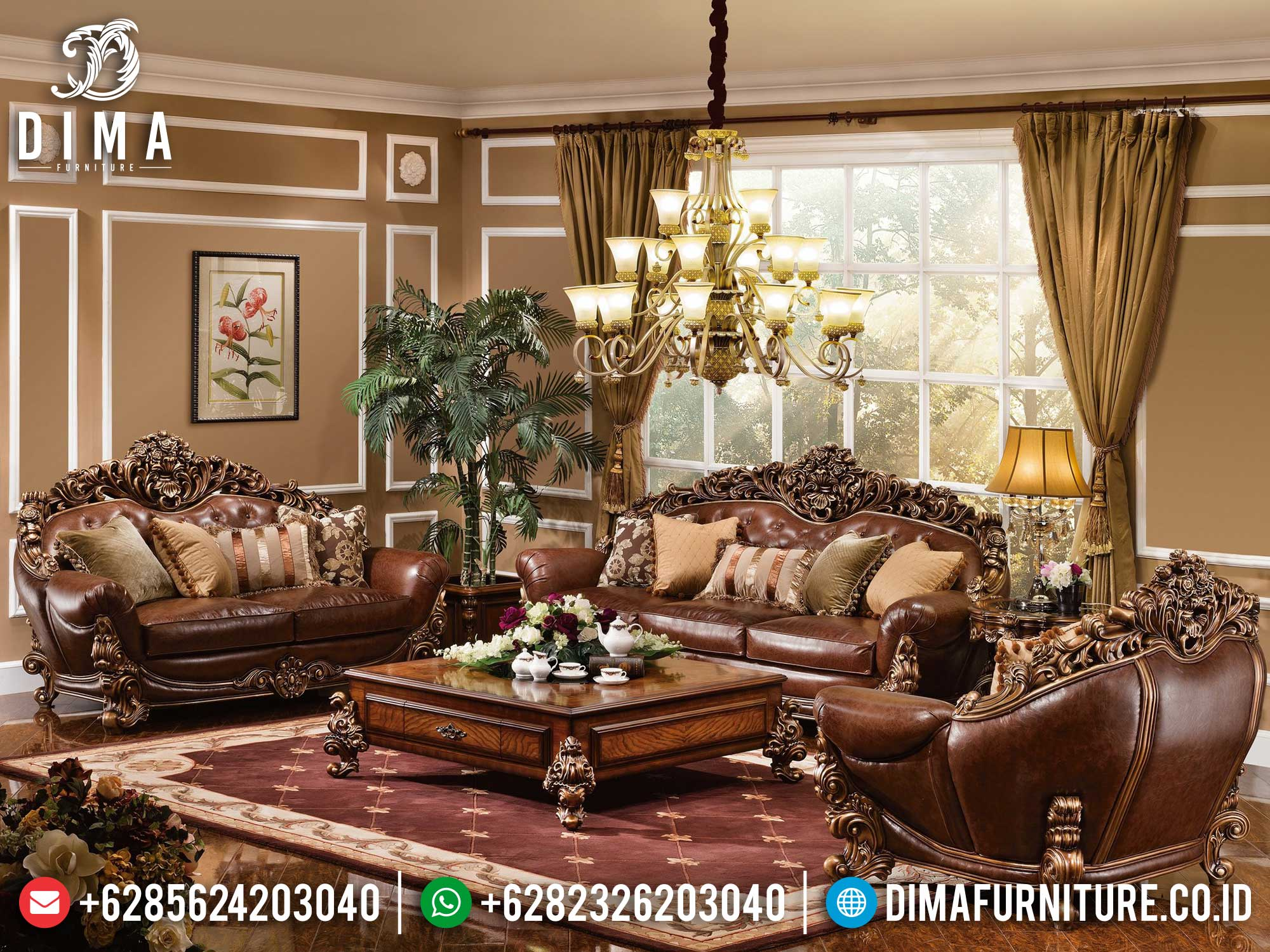 Sofa Tamu Mewah Jati Natural Classic Luxury Brunello Design Mebel Jepara ST-1278