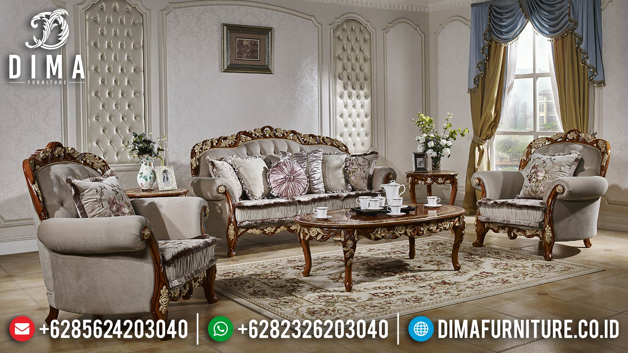 Sofa Tamu Mewah Klasik Jati Perhutani Natural Color Luxury ST-1310