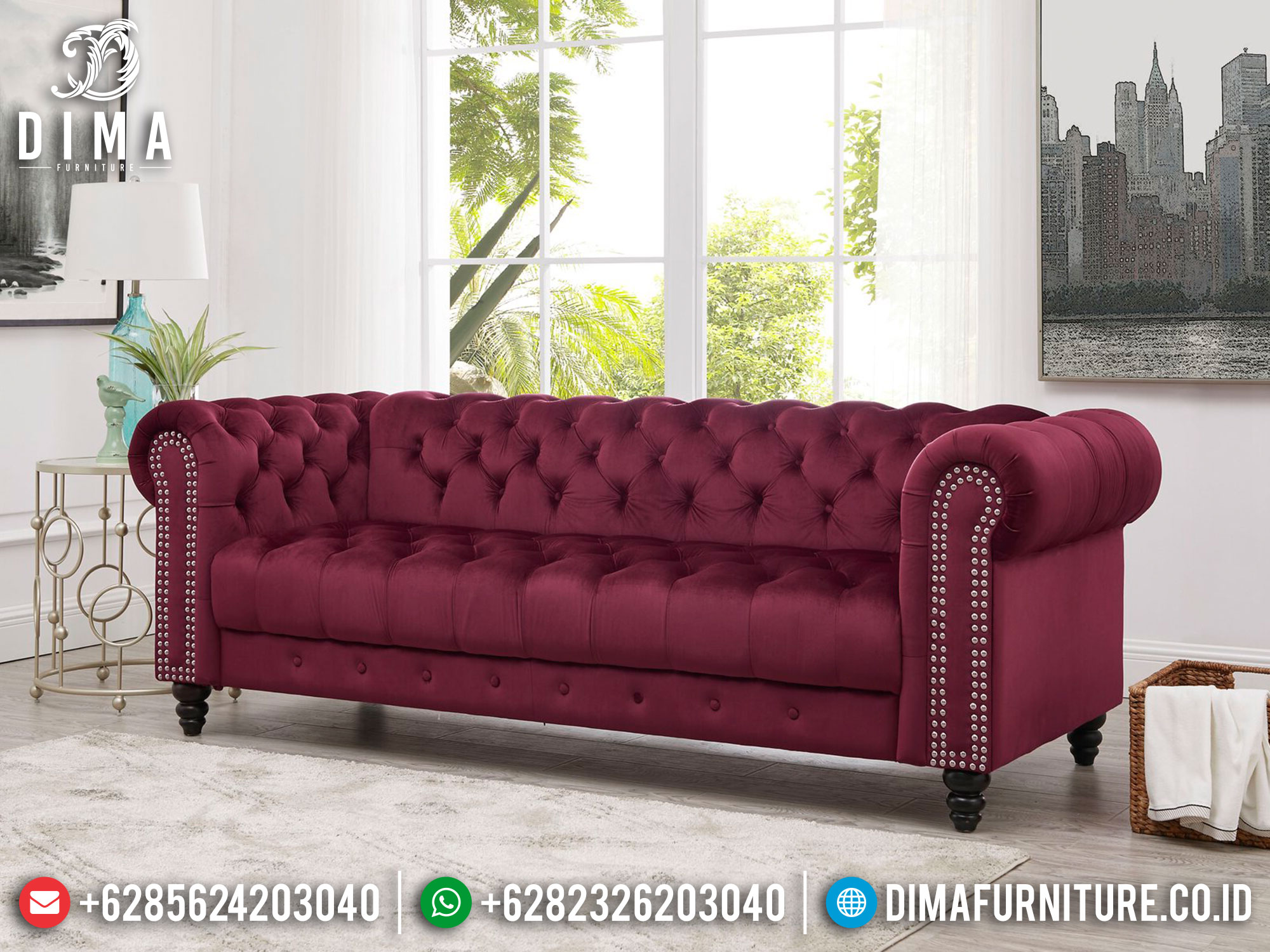 Sofa Tamu Minimalis 3 Seater New Chester Design Luxury Furniture Jepara ST-1322