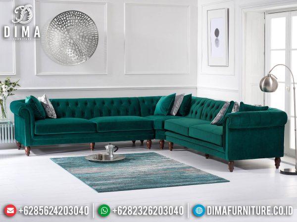 Sofa Tamu Minimalis Sudut Chester Design Luxury Fabric Best Royal Foam ST-1320