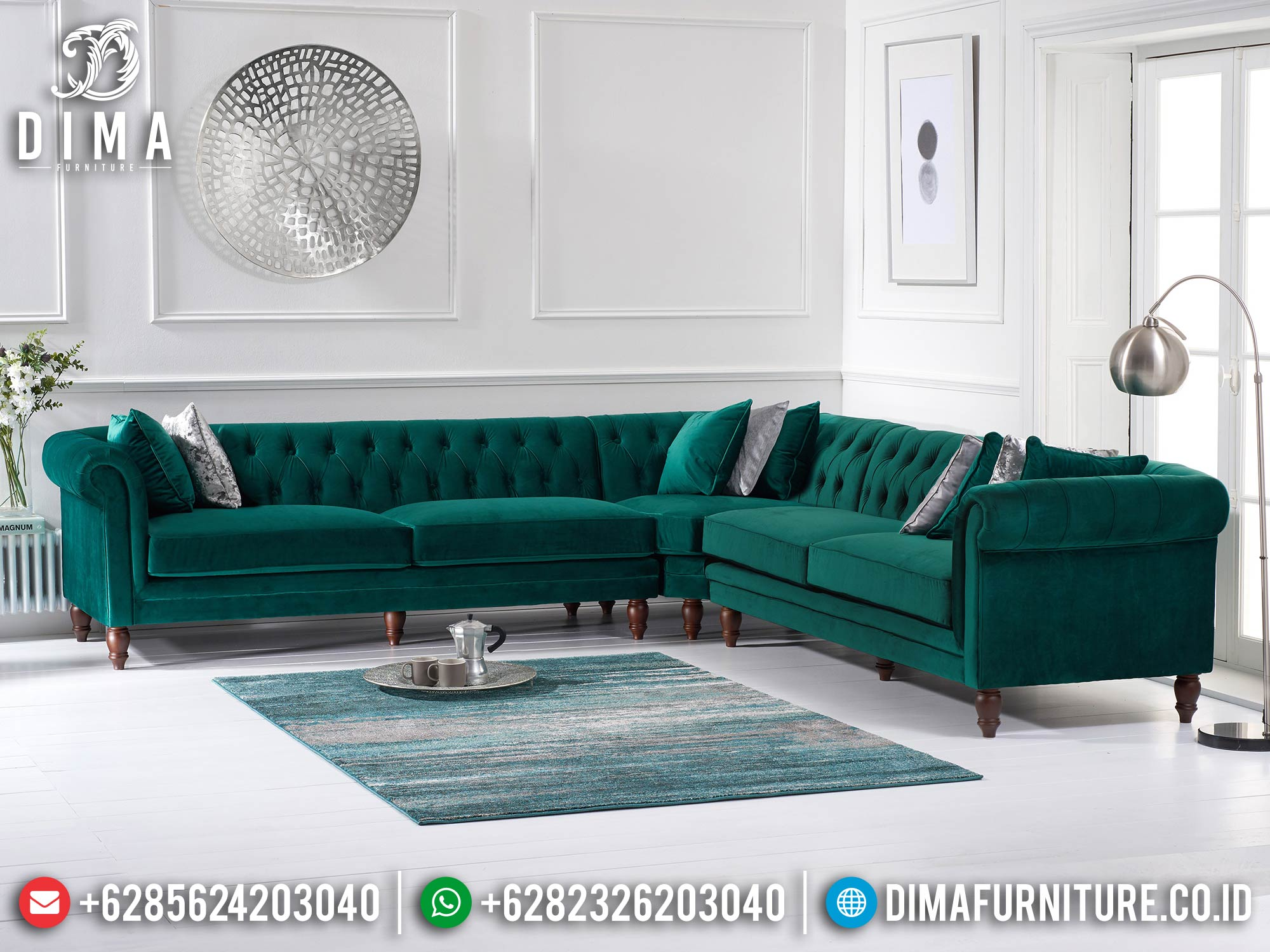 Sofa Tamu Minimalis Sudut Chester Design Luxury Fabric Best Royal Foam ST-1320