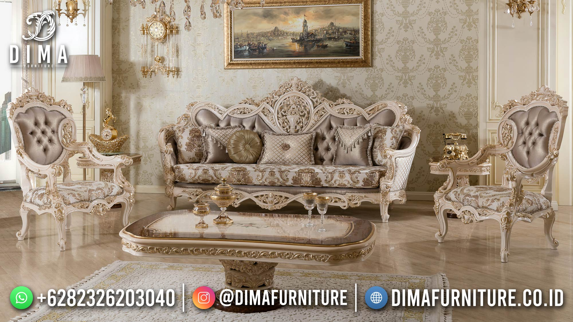 Best Sale Sofa Tamu Mewah Jepara Ukiran Luxury Baroque New Style ST-1429