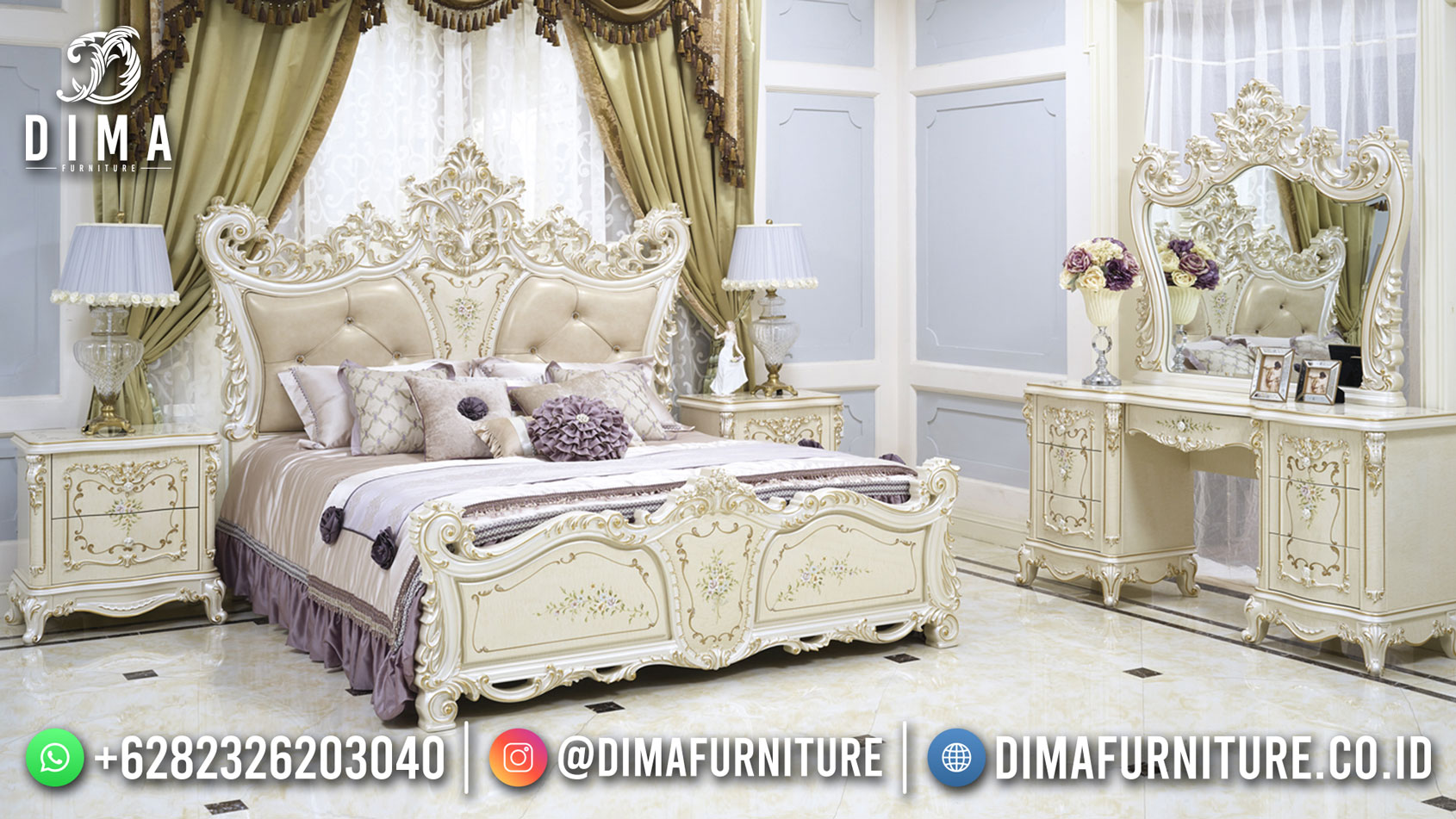 Jual Kamar Set Mewah Jepara Elegant Design Luxury Carving ST-1407
