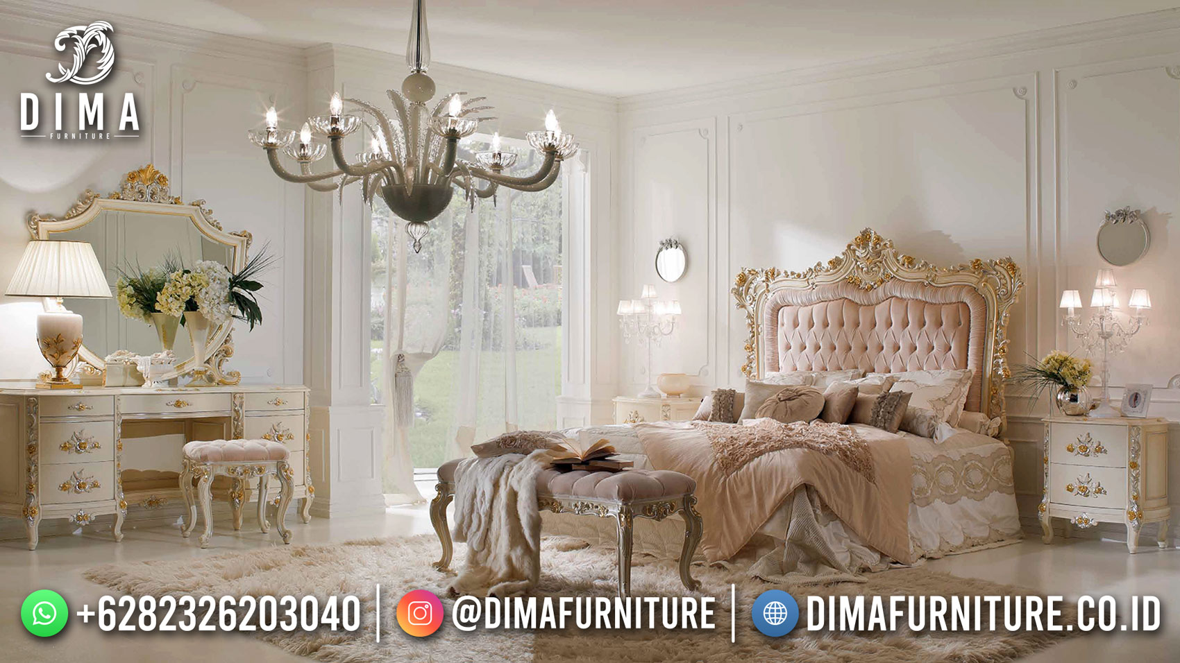 Kamar Set Mewah Jepara, Dipan Ranjang Ukir Luxury Classic New Design ST-1413