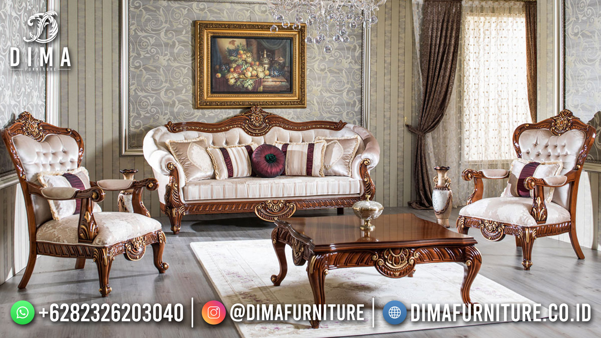 Sofa Tamu Mewah Jati Natural Classic Golden Luxury Combination ST-1451