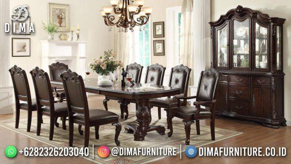 Harga Set Meja Makan Klasik Luxury Carving Natural Jati Perhutani Jepara ST-1475