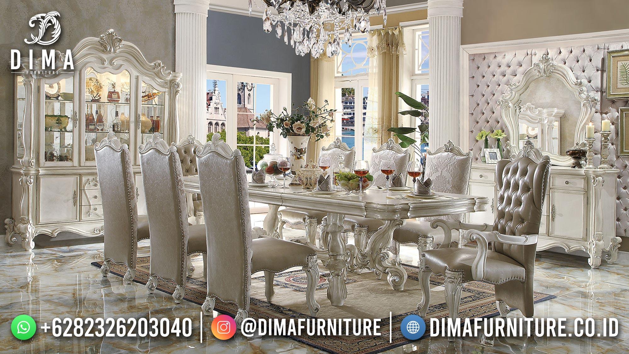 Lovely Set Meja Makan Mewah Terbaru Elegant Carving Design ST-1470